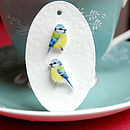 Hand Drawn Blue Tit Earrings