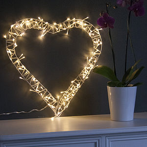 Fairy Light Heart Wreath - decorative accessories