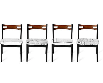Set Of Four Map Papa Stronsay Dining Chairs