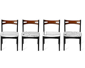 Set Of Four Map Papa Stronsay Dining Chairs - furniture
