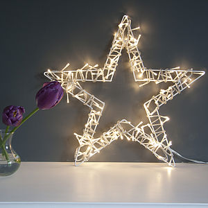 Fairy Light Star Wreath - decorative accessories