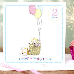 Personalised Girls Birthday Card 'Balloons'