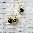 Gold Black Heart Jewellery Set
