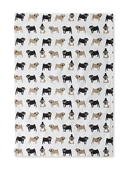 Pug Print Tea Towel