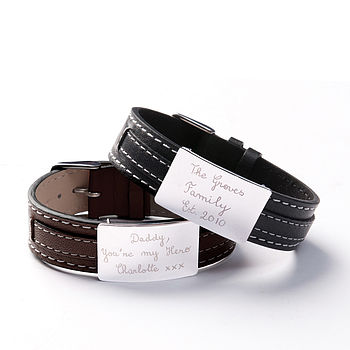 Personalised Dad's Silver & Leather Bracelet