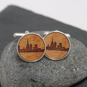 Wooden Barcelona Skyline Cufflinks - for him