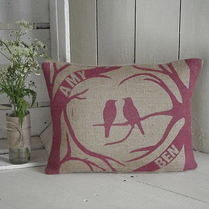 Personalised Love Birds Cushion
