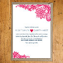 Paisley Lace Pink Invitation