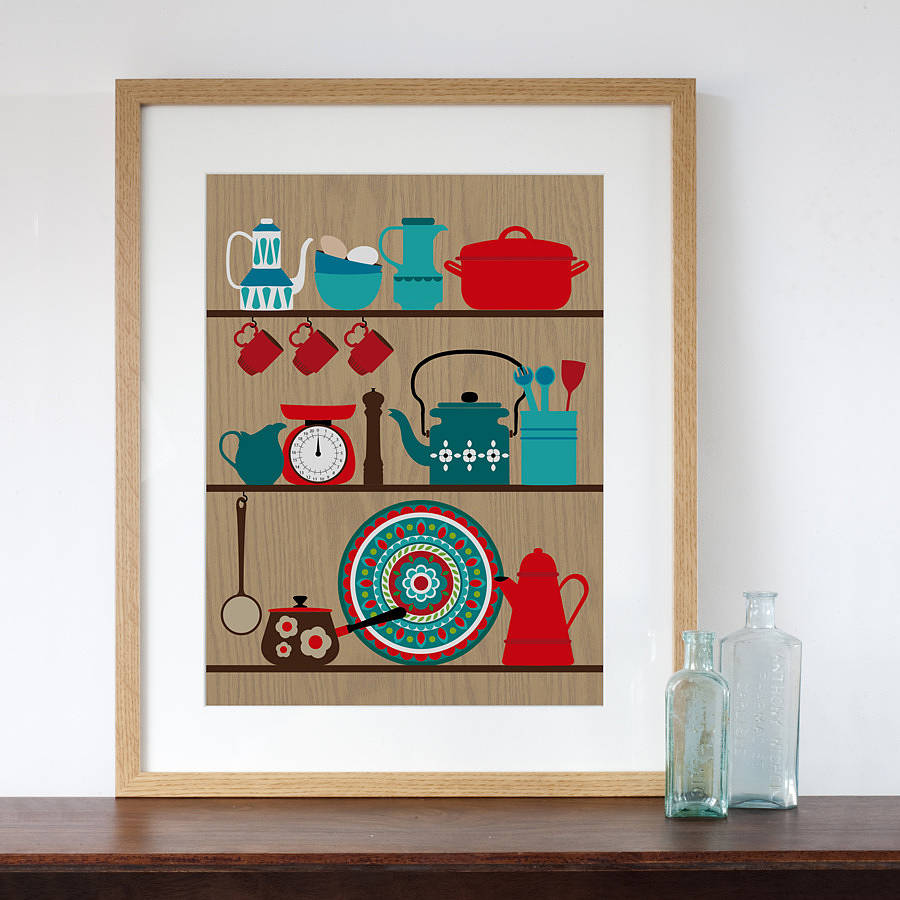 Kitchen Art 32cm: Retro Kitchen Shelves Art Print By Natalie Singh