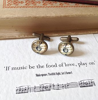 Shakespeare Twelfth Night Music Cufflinks