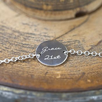 Personalised Engraved Silver Bracelet