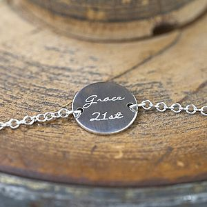 Personalised Engraved Silver Bracelet - 21st birthday gifts