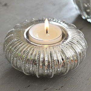 Beaded Silver Glass Tealight Holder