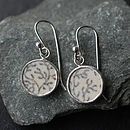 Pottery Shard Seaweed Pattern Earrings