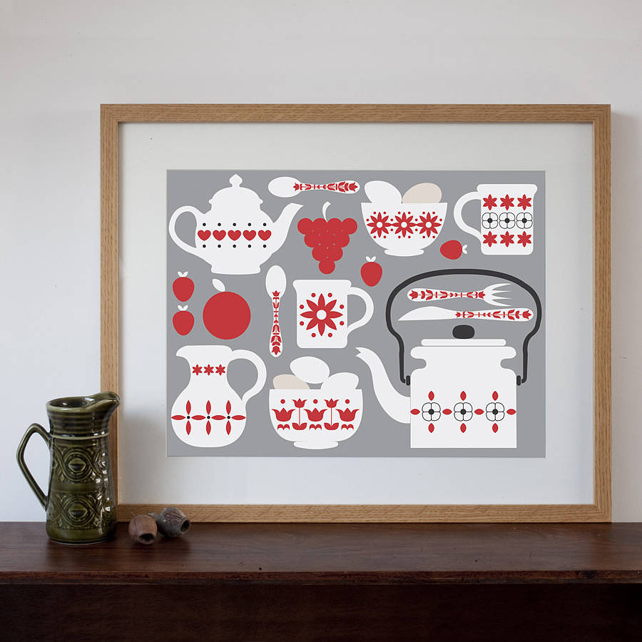 Retro Kitchen Shelves Art Print By Natalie Singh: Landscape Retro Breakfast Art Print By Natalie Singh