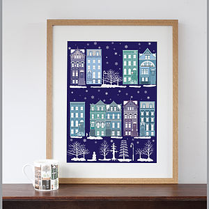 New York Brownstones In Winter Art Print - cityscapes & urban art