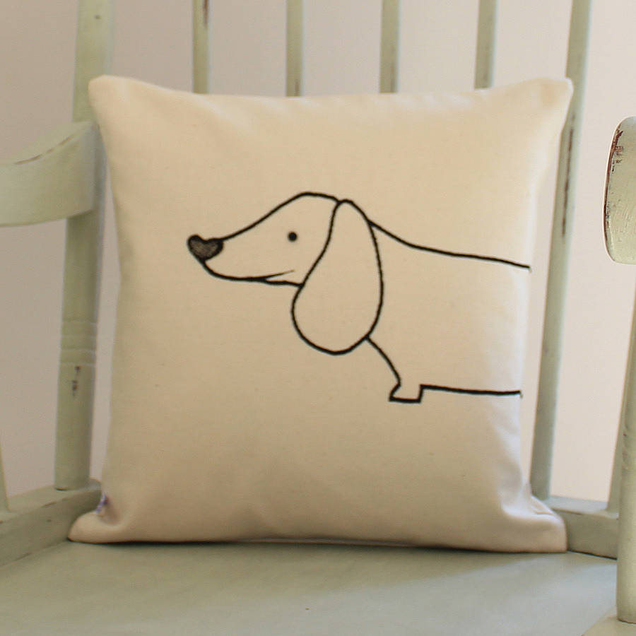 sausage dog cushion cover by miss shelly designs