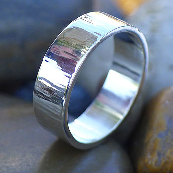 Wide Hammered Ring With Tree Bark Finish