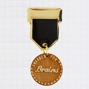 'Brains' Champ Badge Brooch - graduation gifts