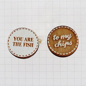 'The Fish To My Chips' Wooden Cufflinks - cufflinks