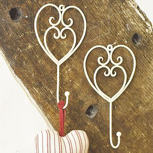 Country Cream Heart Hook - hooks, pegs & clips