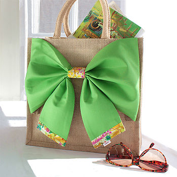 New Season Tresco Tana Lawn Liberty Art Fabric & Bright Green Cotton Big Bow Bag