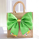 New Season Tresco Tana Lawn Liberty Art Fabric & Bright Green Cotton Big Bow Bag Front
