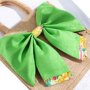 New Season Tresco Tana Lawn Liberty Art Fabric & Bright Green Cotton Big Bow Bag Packed Flat