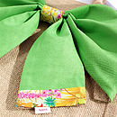 New Season Tresco Tana Lawn Liberty Art Fabric & Bright Green Cotton Big Bow Bag Packed Flat Close Up
