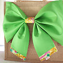New Season Tresco Tana Lawn Liberty Art Fabric & Bright Green Cotton Big Bow Bag Close Up
