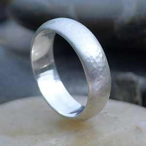 Men's Hammered Silver Ring - wedding rings