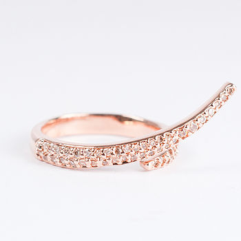 Rose Gold And Diamante Serpentine Twist Ring