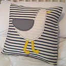 Sid Seagull Appliqued Coastal Cushion