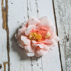 Peach Rose Hairgrip And Brooch Corsage