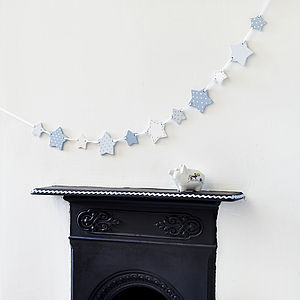 Blue Wooden Star Bunting - baby's room