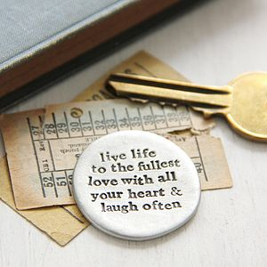 'Live Love Laugh' Pocket Coin - decorative accessories