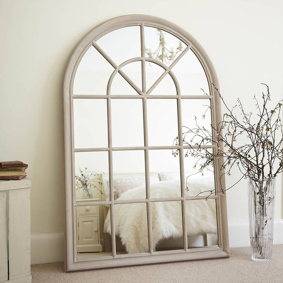 Cream arched window mirror by primrose plum for Window mirrors for sale