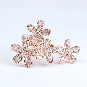 Rose Gold Flower Diamante Cocktail Ring