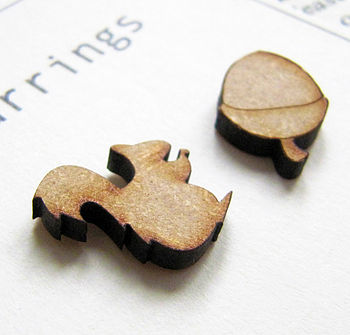 Squirrel And Nut Quirky Wooden Earrings