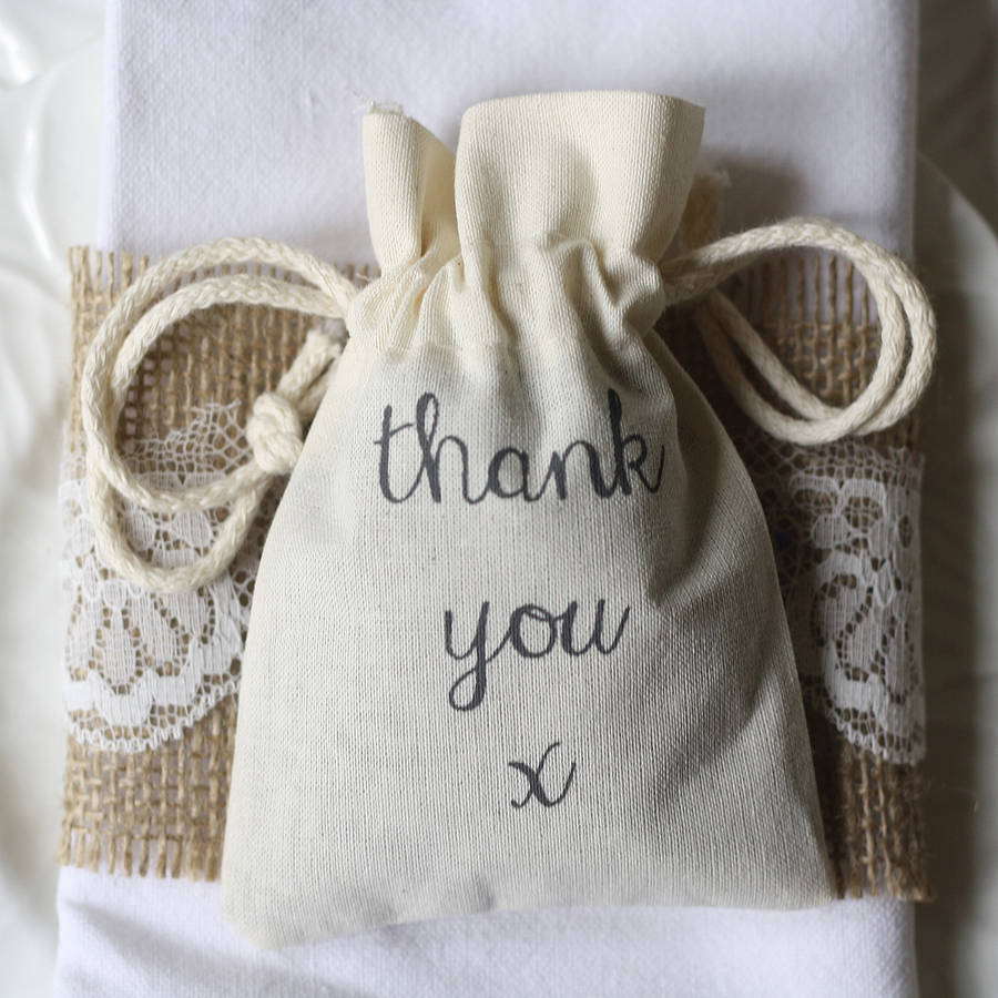 thank you\' cotton bag for wedding favours by the wedding of my ...