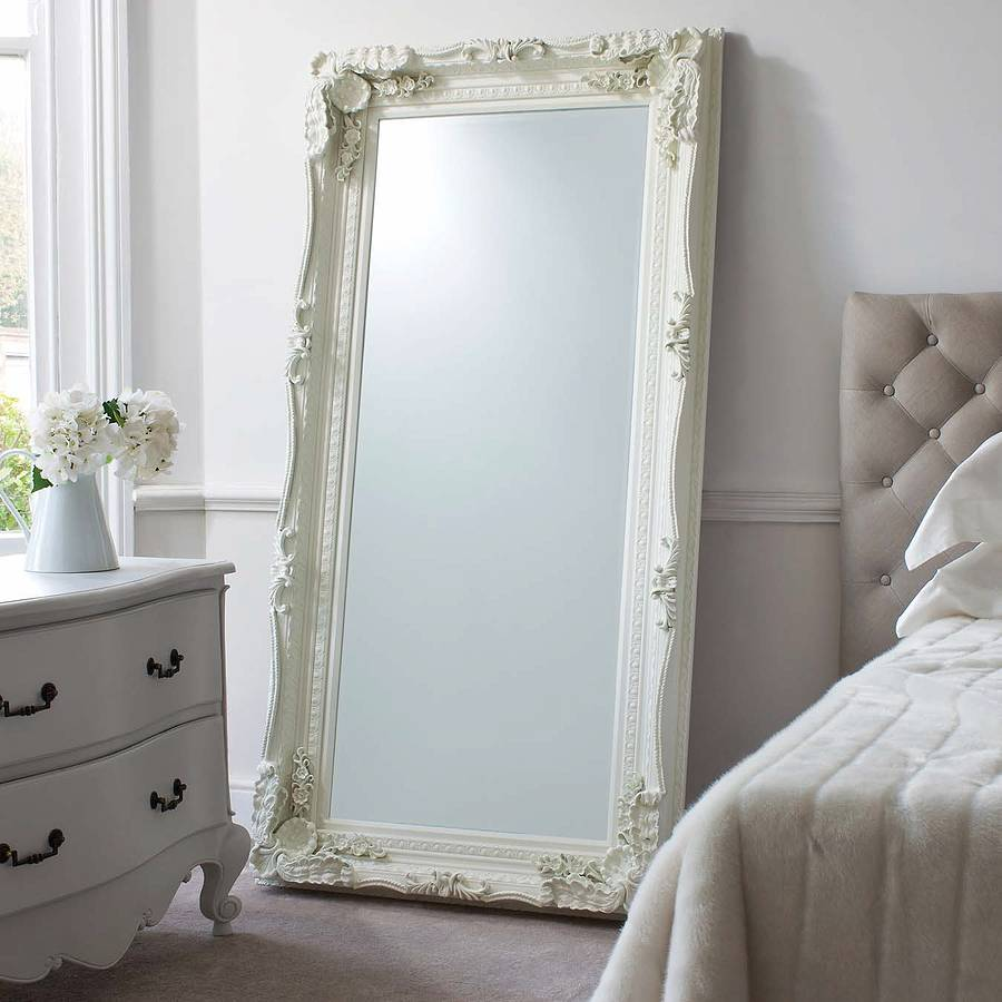 Cream Carved Floor Standing Mirror
