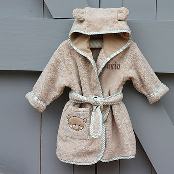 Personalised Teddy And Ele Bathrobe