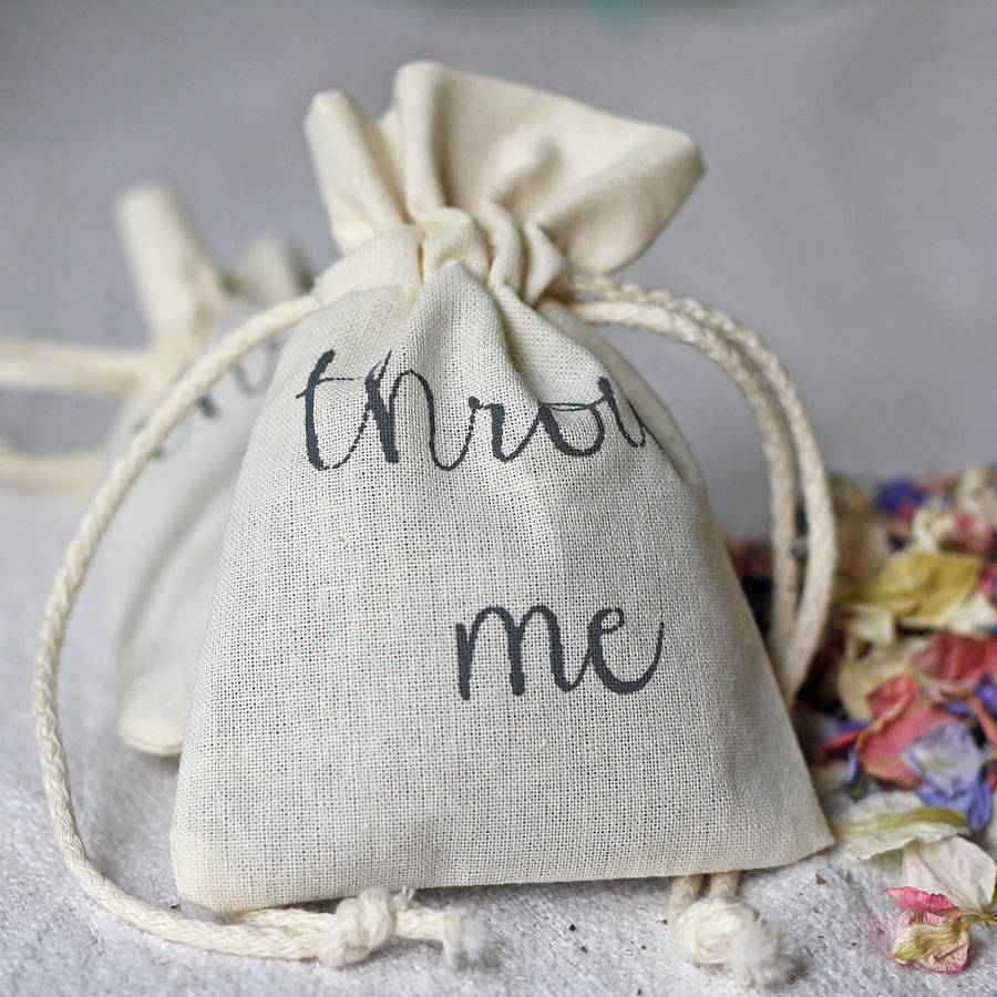 cotton bag for wedding petal confetti by the wedding of my dreams ...