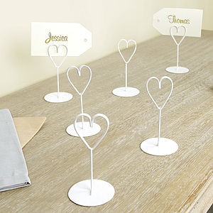 Ivory Heart Place Name Holders - summer sale