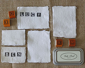 20 Handmade Paper Place Cards Torn Edges - kitchen