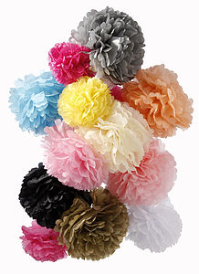 Three Pom Pom Decorations - room decorations
