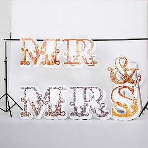 Textural Delights 'Mr & Mrs' Letters - decorative accessories