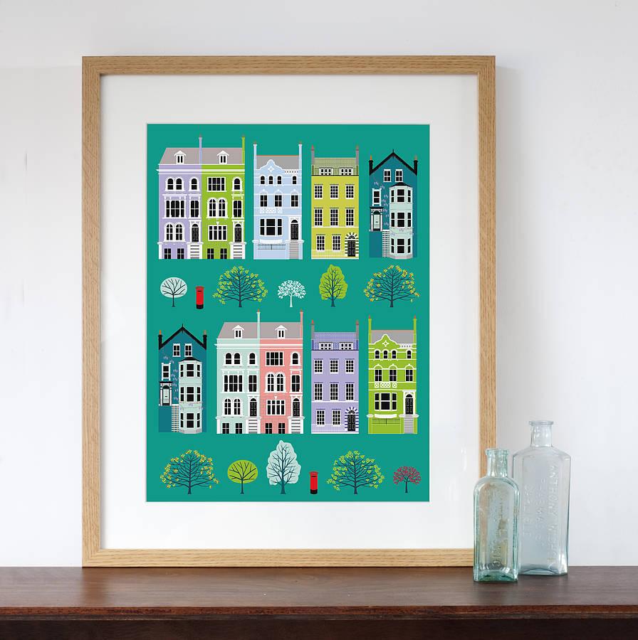 Retro Kitchen Shelves Art Print By Natalie Singh: London Row Houses Art Print By Natalie Singh
