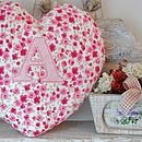 Pink personalised floral heart cushion