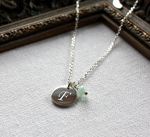 Christening Initial Necklace With Birthstone